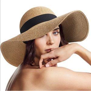 Accessories - Women's sun straw beach hat wide brim foldable